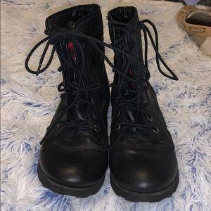 Nine West black flip over boots - red plaid - 8